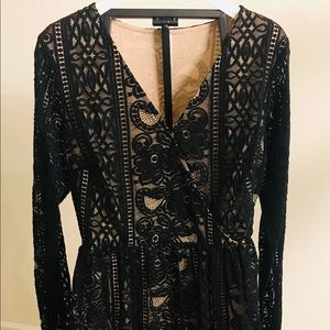 NWOT BLACK LACE DRESS W/CREAM LINING, OPEN SLEEVES